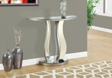 """ACCENT TABLE - 36""""L / BRUSHED SILVER / MIRROR"""