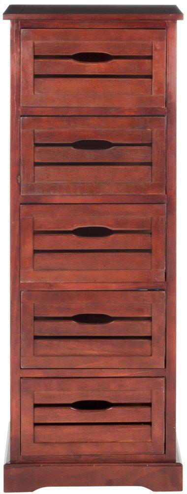 Sarina 5 Drawer Cabinet - Cherry