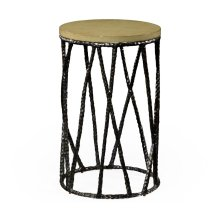 Hammered Antique Black Brass Wine Table with Celadon Top