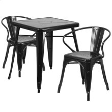 23.75'' Square Black Metal Indoor-Outdoor Table Set with 2 Arm Chairs