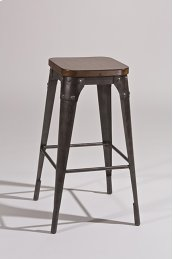 Morris Backless Non-swivel Bar Stool - Black / Pecan Finished Wood Seat