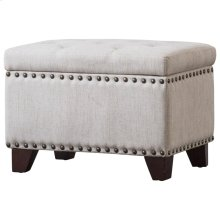 Jonas Fabric Rectangular Nailhead Tufted Storage Ottoman, Sand