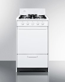 """White Gas Range In Slim 20"""" Width With Electronic Ignition"""