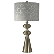 Transitional Brushed Steel Table Lamp with Gray Toned Pattern Shade