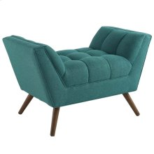 Response Upholstered Fabric Ottoman in Teal