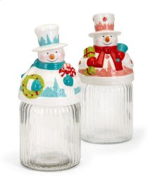 Whimsy Christmas Snowman Jars - Ast 2
