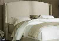 Wing Shelter Upholstered Headboard King - Natural Linen Product Image