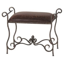 Small Antique Faux Leather Bench.