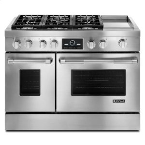 "Jenn-AirJenn-Air® Pro-Style® 48"" Dual-Fuel Range with Griddle and MultiMode® Convection - Pro Style Stainless"