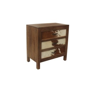 CRESTVIEW COLLECTIONSFt. Worth Brown Cowhide 3 Drawer Chest