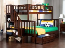 Woodland Staircase Bunk Bed Twin over Full with Raised Panel Bed Drawers in Walnut