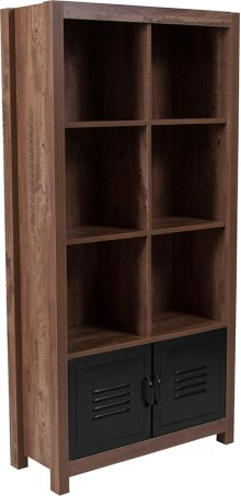"""New Lancaster Collection 59.5""""H 6 Cube Storage Organizer Bookcase with Metal Cabinet Doors in Crosscut Oak Wood Grain Finish"""