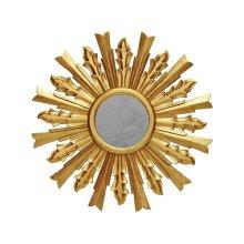 Handcarved Starburst Mirror In Gold Leaf. Center Is Antique Mirror.