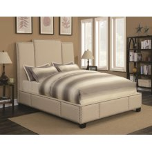 Lawndale Beige Upholstered California King Bed