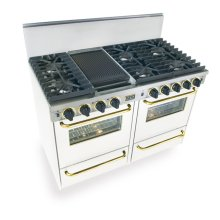 """48"""" All Gas, Convection, Sealed Burners, White with Brass"""