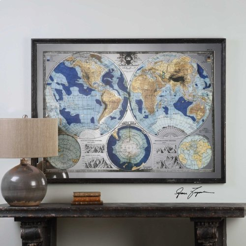 Mirrored Map Of The World Framed Print