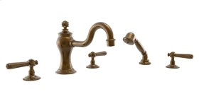 Deck Tub Set with Hand Shower Lever Handles - Polished Brass Antiqued