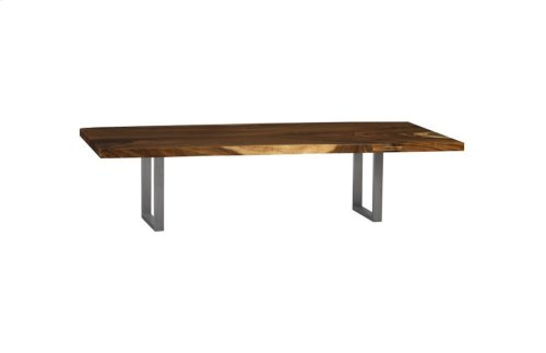 Live Edge Dining Table, Chamcha Wood, Uber Gloss, Brushed Stainless Steel Legs