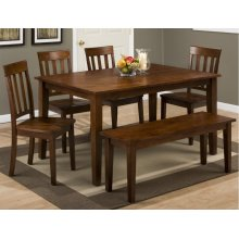 Simplicity Caramel Rectangle Dining Table With Four Slat Back Dining Chairs and Bench