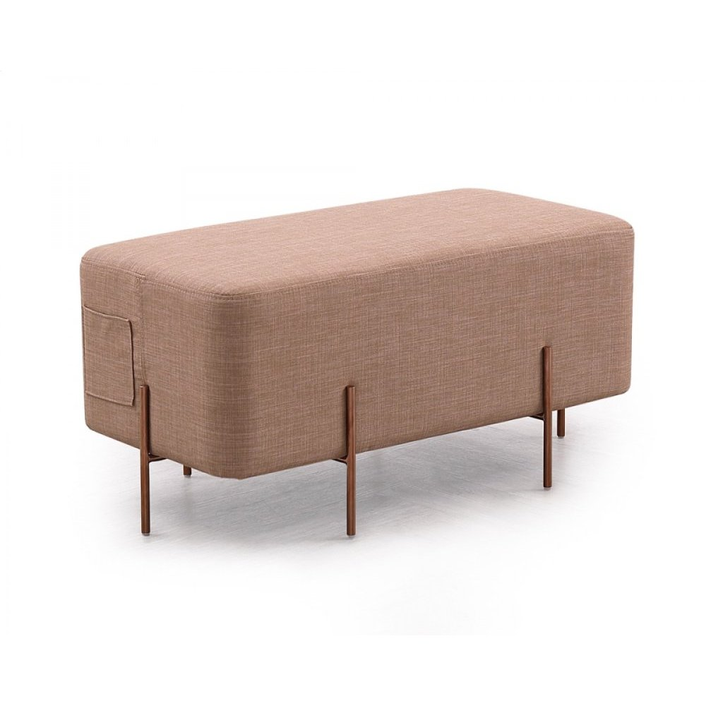 Divani Casa Adler Modern Brown Fabric Ottoman