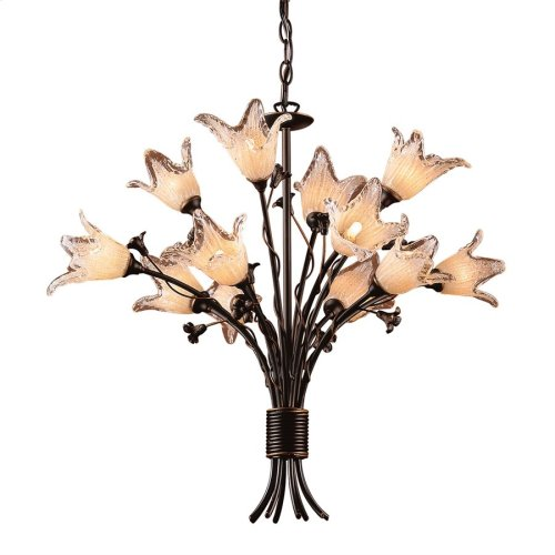 Fioritura 12-Light Chandelier in Aged Bronze with Floral-shaped Glass