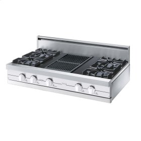 "White 42"" Open Burner Rangetop - VGRT (42"" wide, four burners 12"" wide char-grill)"