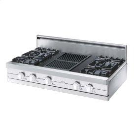 "White 42"" Open Burner Rangetop - VGRT (42"" wide, four burners 12"" wide char-grill)"