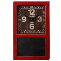 Distressed Orange Wall Clock with Chalkboard. Product Image