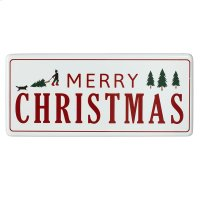 "Oversized Red & White Enamel ""Happy Holiday's"" Wall Decor. Product Image"