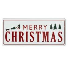 "Oversized Red & White Enamel ""Happy Holiday's"" Wall Decor."