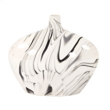 Porcelain Oblong White and Black Swirl Vase, Small