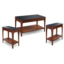 Black Glass Condo/Apartment Coffee Table & Two End Tables -Three pack #11101