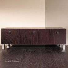 """Free-standing bench with three drawers, polished chrome pulls and polished stainless steel legs included, 39 3/8""""W, 13 3/8""""D, 12 1/2""""H"""