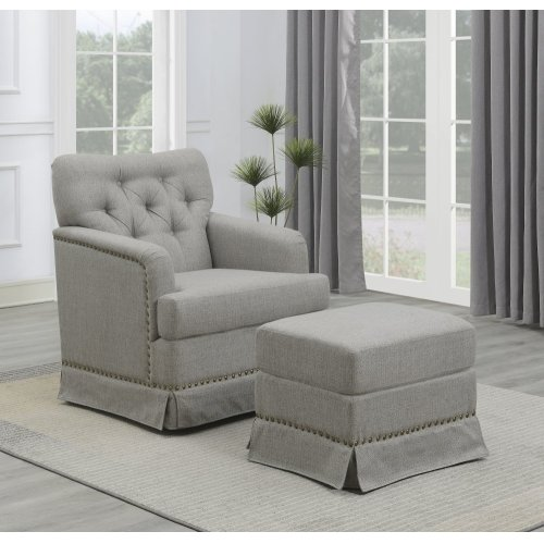 Emerald Home U3348-04-03-2pcset Ashdale Swivel Glider Chair & Ottoman, Cement