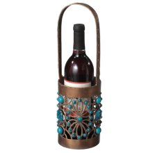 Copper and Turquoise Single Wine Bottle Caddy