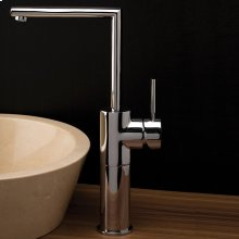 Deck-mount single-hole faucet with a lever handle and square goose-neck spout drain not included. ADA compliant.