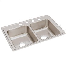 "Elkay Lustertone Classic Stainless Steel 33"" x 22"" x 8-1/8"", Equal Double Bowl Drop-in Sink"