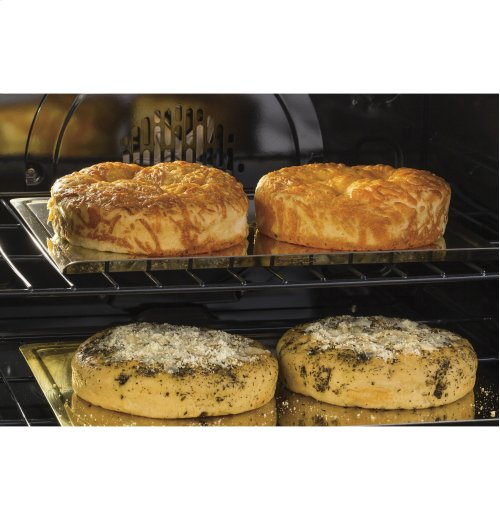 """GE Cafe™ Series 30"""" Slide-In Front Control Gas Double Oven with Convection Range"""