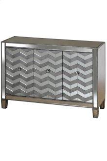 Silver Grey Oak Veneer Chevron Inlay on Door Panels Three Door Chest