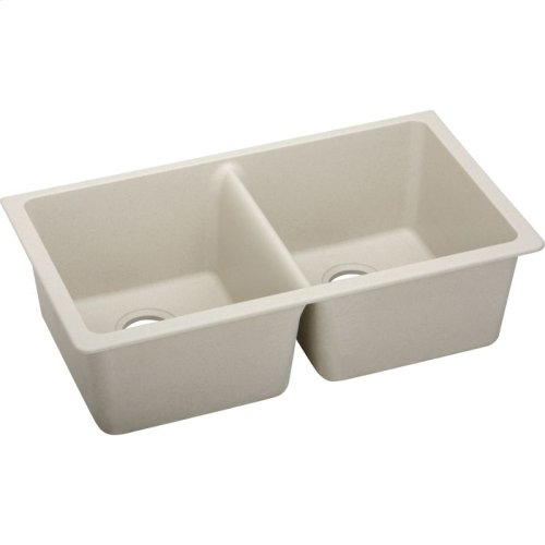 "Elkay Quartz Classic 33"" x 18-1/2"" x 9-1/2"", Equal Double Bowl Undermount Sink, Bisque"