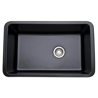 Matte Black Allia Fireclay Single Bowl Undermount Kitchen Sink