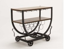 Serving Cart-med Oak/blk Wine