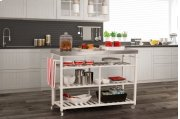 Kennon Kitchen Cart - White With Stainless Steel Top Product Image
