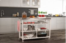 Kennon Kitchen Cart - White With Stainless Steel Top