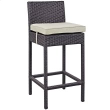 Convene Outdoor Patio Fabric Bar Stool in Espresso Beige