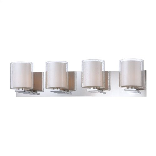 Combo 4-Light Vanity Lamp in Chrome with Clear Stromboli and White Opal Glass