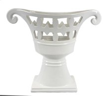 Footed White Ceramic Vase