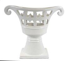Footed White Ceramic Vase
