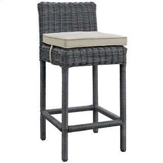 Summon Outdoor Patio Sunbrella® Bar Stool in Antique Canvas Beige