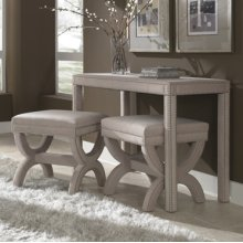 Upholstered Desk & 2 Ottomans with Nailhead